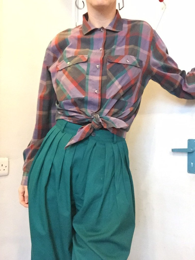 12 1980s vintage checked plaid oversized tie top shirt western style uk 10 14
