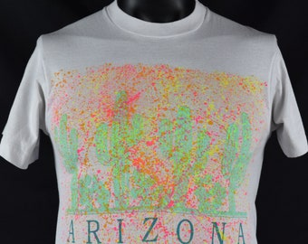Vintage ARIZONA tourist tshirt / White / Screen Stars Best / Made in USA / vacation / travel / Cactus / Splatter Paint / Fits like a Small