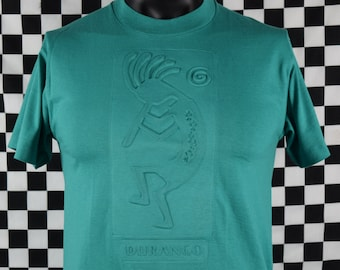 Vintage 80s 90s KOKOPELLI tshirt / Durango Colorado / Southwestern Native American / Green, Teal / Flute Player / Fits like a Medium