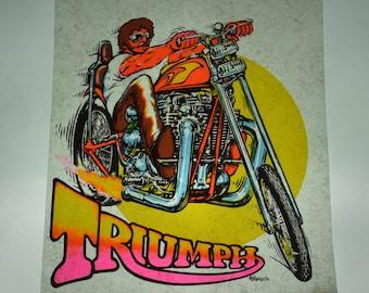 1970s Vintage Biker iron-on transfer decal / Triumph / Chopper / Vtg Motorcycle / t-shirt print decal