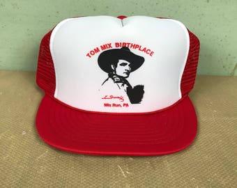 Vintage 1980 s Tom Mix Birthplace Trucker Hat   Cowboy   Rodeo   Film Actor    Travel Tourist Souvenir Cap 7cfc3fc185d8