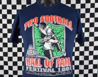90s Vintage Pro Football Hall of Fame t-shirt / NFL / 1991 Festival / HOF / Canton Ohio / Navy Blue / Fits like a Medium