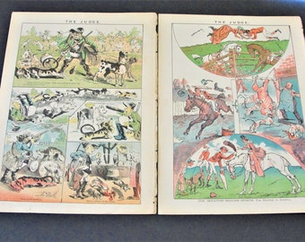 """084cfe4172ff3b Vintage-1880s """" Our Imitation English Sports  Fox hunting in America."""" The  Political Magazine Judge Set of (2) Pages Colored Lithograph."""