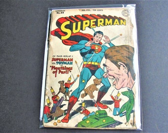 Superman (1st Series) #44 (Poor 0.5) – (Missing Centerfold), Golden Age DC 1947! Three Stories! Comic Book. RARE!