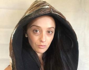 rainbow hood/ reversible Hood/Brown and black/ festival hood/ rave hood/ festival wear/ winter hood/hippie hood/ hippy hood