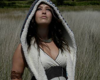 Reversible Hood/ Fairisle/ Festival hood/ fairisle hood/ scoodie/ light hood/ fairisle hood/pocahontas/Spirit hood/burning man/warrior hood