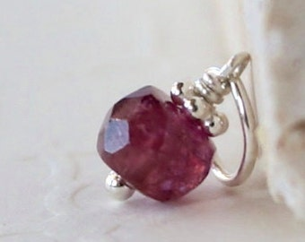 Tiny Pink Tourmaline - Sterling Silver Charm Pendant Dangle - Genuine Facetted Tourmaline Jewelry - October Birthstone