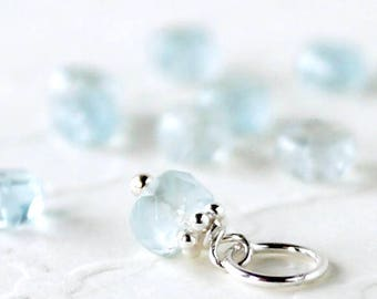 AAA Aquamarine Charm - Sterling Silver Tiny Add On Dangle - Natural Genuine Blue Gemstone Pendant - March Birthstone - Pandora Compatible