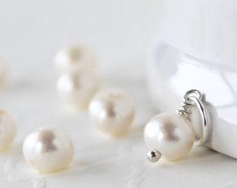 SALE ~ AAA Pearl Charm - Sterling Silver Pendant - add-on Dangle - June Birthstone - Natural Freshwater White  Pearl - Pandora Compatible