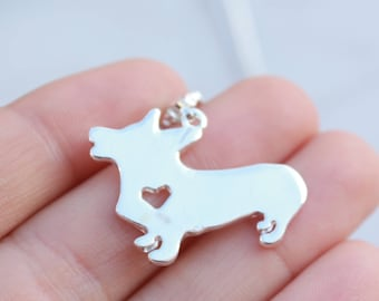 e61efe0daad8 Silver Plated Corgi Necklace || Adorable High-Quality Jewelry || Silhouette  with Heart Cutout || Customizable || Supports non-profit!