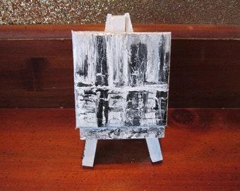 Landscape Abstract Painting on Mini Canvas w/Easel for Gift or Home DECOR