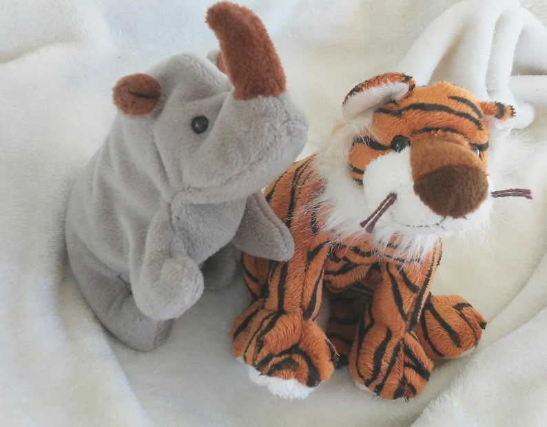 df7a0b0c8ab Retired Ty Beanie Babies Set Vintage Ty Rhino and Tiger
