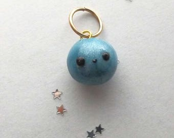 Baby Blueberry Charm - Polymer Clay Charm - Kawaii Clay Charms - Shimmery - Clay Charm - Planner Charm - Miniature Food Jewelry - Kawaii