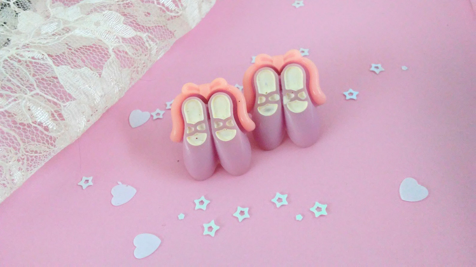 kawaii earrings - ballerina dancer jewelry - pastel kawaii - little girl - gift for dancer - ballet shoes - resin jewelry - swee
