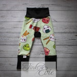 Baby Grow Pants in Kawaii Sushi pattern with Dots. Multicolour, Green, Black, White, Brown. Monster Bunz Pants