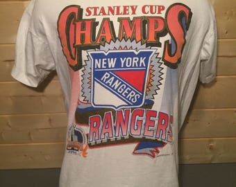 Vintage 1994 New York Rangers Stanley Cup Champs Made in USA T-Shirt