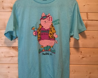Vintage 1980's Pig Cartoon Charlotte North Carolina Beach 50/50 Surfing Great Soft Made In USA Ched Tag