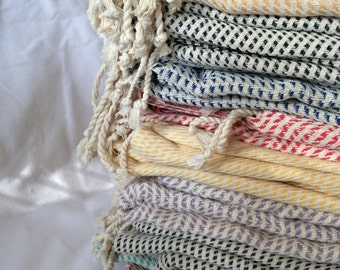 High quality throw/beach blanket, natural hand loomed Turkish cotton