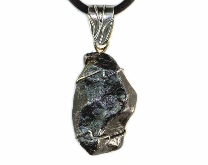 Sikhote-Alin Meteorite Space Rock Iron Metal Pendant Necklace Jewelry Sterling Silver