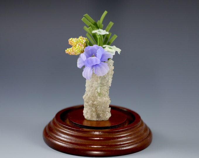 White Fulgurite Vase Lightning Sand Flowers Leaves Buds