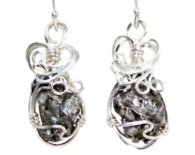 Meteorite Jewelry Earrings Campo del Cielo Sterling Silver Handwire Wrapped