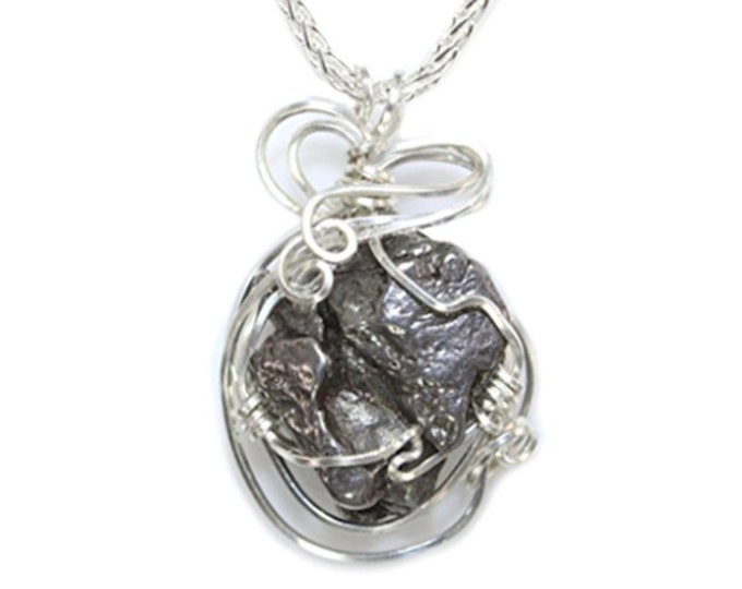 Meteorite Jewelry Space Rock Pendant Necklace Sterling Silver Cosmic Design Custom Wire Wrapped