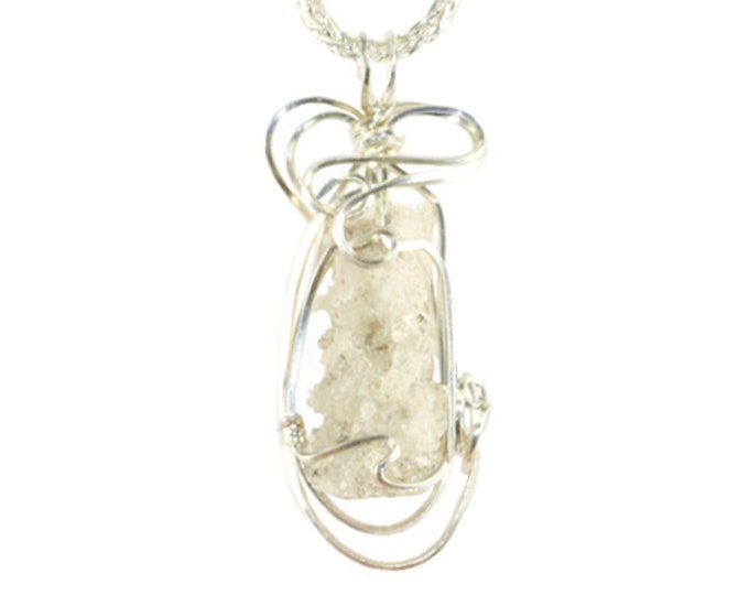 Fulgurite Jewelry Lightning Sand Glass Hollow Tube Pendant Necklace Hand Wire Wrapped Sterling Silver