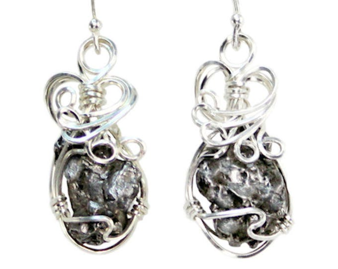 Meteorite Jewelry Campo del Cielo Matching Earrings Hand Wire Wrapped Stainless Steel