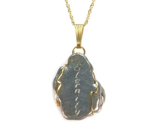 "Meteorite Jewelry Pendant 14k Gold Campo del Cielo Inscribed ""Eternity"" Space Rock Jewelry"