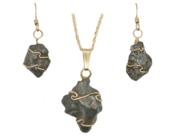Sikhote-Alin Meteorite Custom Hand Wire Wrapped Meteorite Jewelry Pendant Necklace Earrings 14k Gold