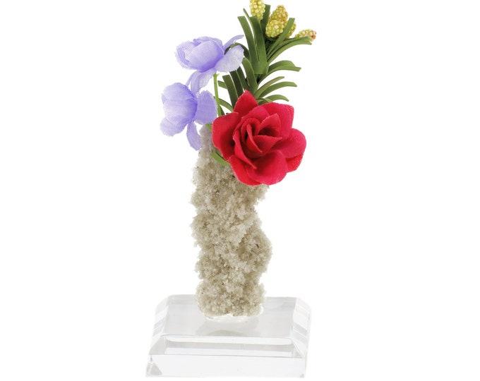 Fulgurite Lightning Sand Miniature Flowers in Vase