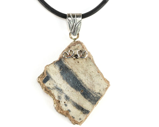 Anasazi Pottery Jewelry Sterling Silver, Black Cord Chain