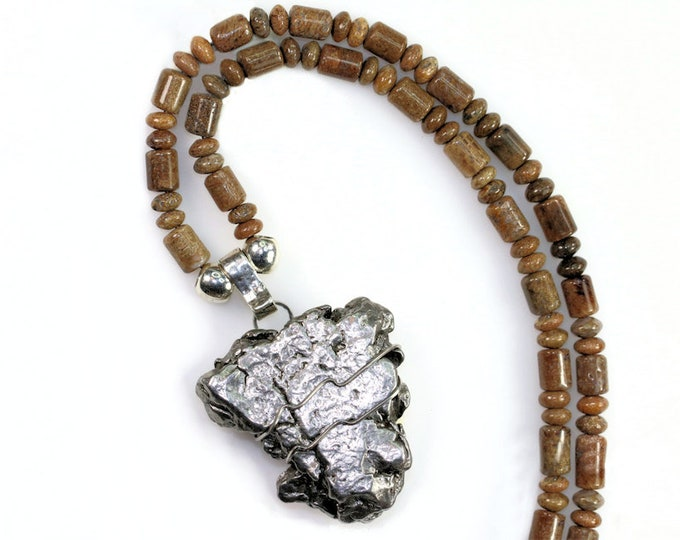 Space Rock Meteorite Jewelry Stainless Steel Wire Large Pendant Necklace Real Whalebone Fossil Beads Men Women