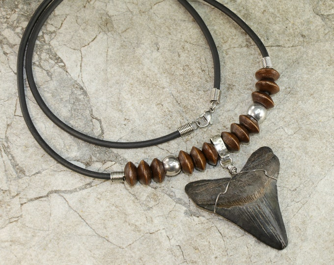 Megalodon Shark Tooth Jewelry Pendant Necklace Large