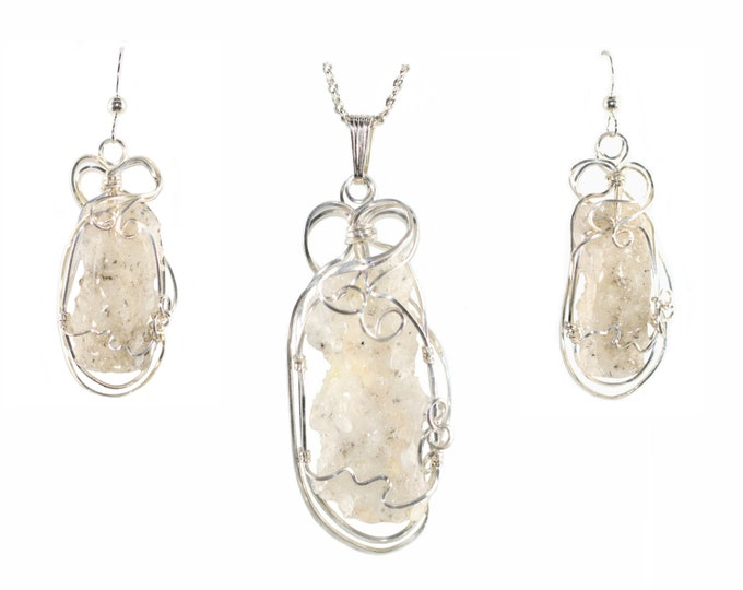 Fulgurite Lightning Sand Pendant Necklace Earring Set Sterling Silver Large