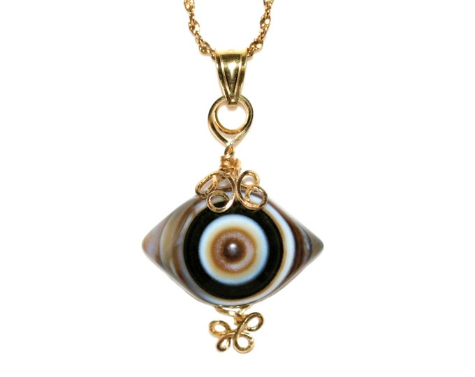 Eye Agate Fine Jewelry 14K Gold Cabochon 27mm Intricate Style Design