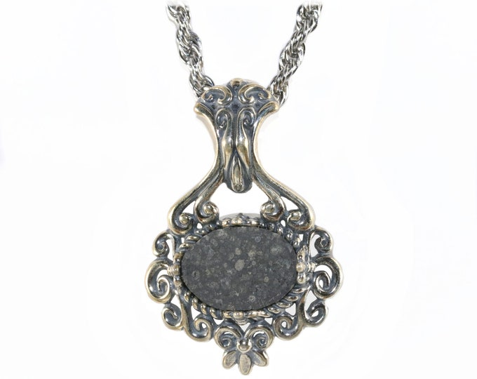 Allende Meteorite Jewelry Pendant Necklace Sterling Silver Scrollwork  Design Oxidized Chain