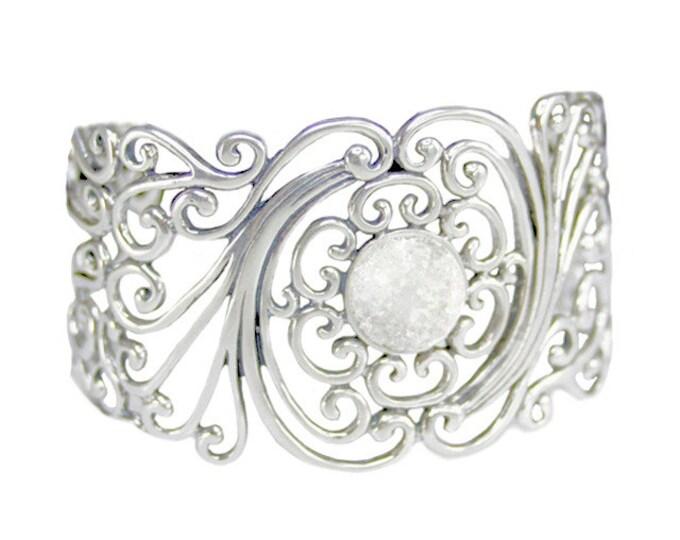 Fulgurite Lightning Sand Filigree Cuff Bracelet Sterling Silver Ornate Swirling Victorian Style Design