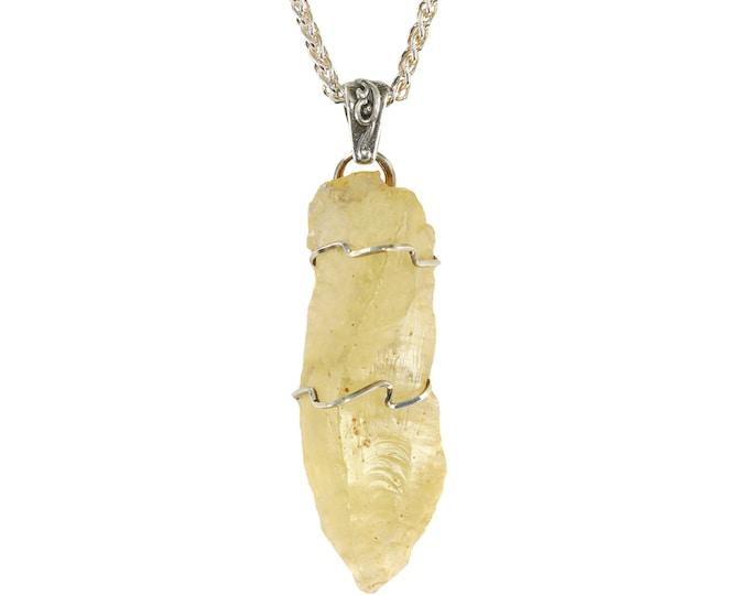 Libyan Desert Glass Jewelry Cosmic Arrowhead Shaped Pendant Necklace