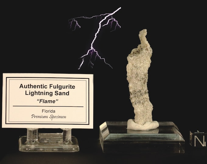Flame Shaped Fulgurite Lightning Sand with Tag