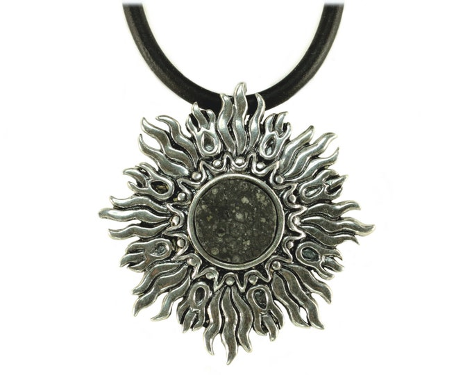 Allende Meteorite Jewelry Pendant Necklace Sunburst Sterling Silver