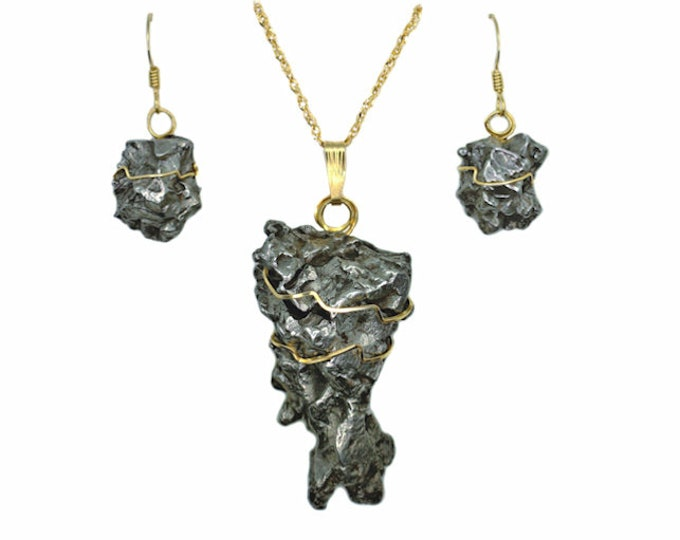 Meteorite Jewelry 14k Gold Matching Pendant Necklace Earrings Set Campo del Cielo