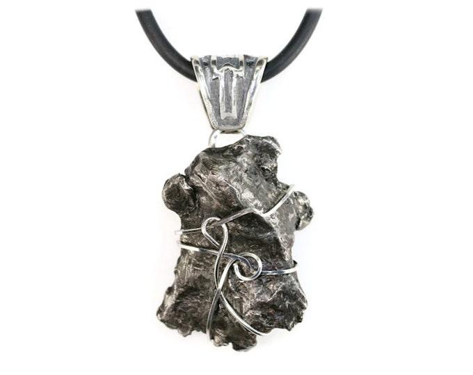 Sikhote-Alin Meteorite Jewelry Ornate Bail Pendant Necklace Stainless Steel Men Women