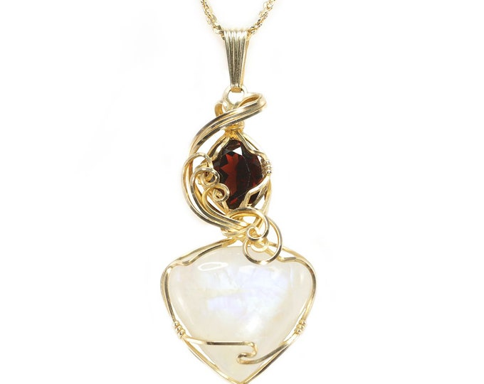 Moonstone Garnet Jewelry 14k Gold