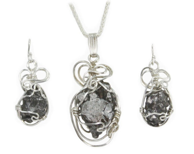 Space Rock Meteorite Jewelry Pendant Necklace with Matching Earrings Set Sterling Silver