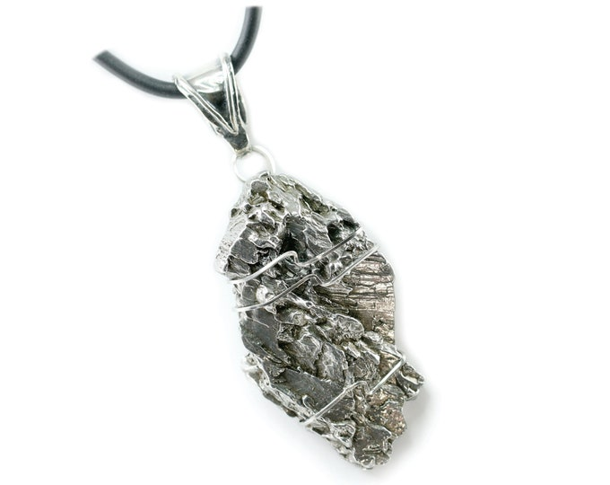 Large Campo del Cielo Meteorite Jewelry Pendant Necklace Stainless Steel