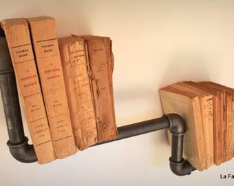 Shelf library industrial vintage plumbing black iron pipe - pipe shelf