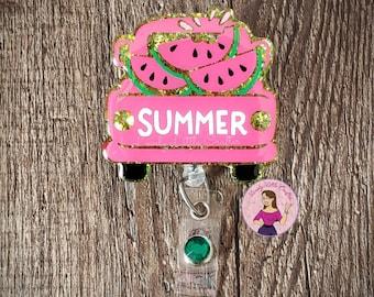 Glitter Badge ID Badge Holder Summer Badge Reels Summer ID Badge Set of 2 Sun Badge Reel Popsicle Badge Reel