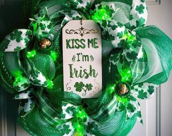 St Patrick's day wreath, st patty's day wreath, st patty's wreath, patty's day wreath, Irish wreath, St Patrick's day decor, Irish decor