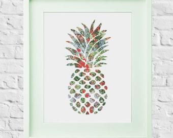 Modern Cross Stitch Pattern Pineapple